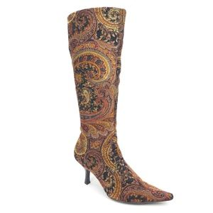 Diba Babs Paisley Tapestry Pointed Toe Tall Boots